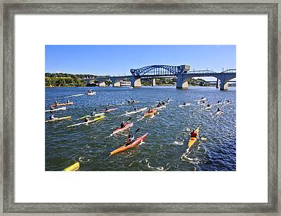 Race On The River Framed Print by Tom and Pat Cory