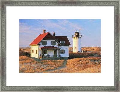 Race Point Lighthouse And Light Keepers House Framed Print by Roupen  Baker
