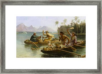 Race To The Market Framed Print by Nicholas Chevalier