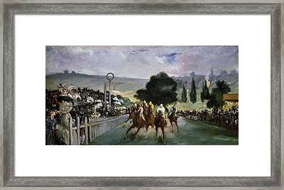 Races At Longchamp Framed Print by Edouard Manet