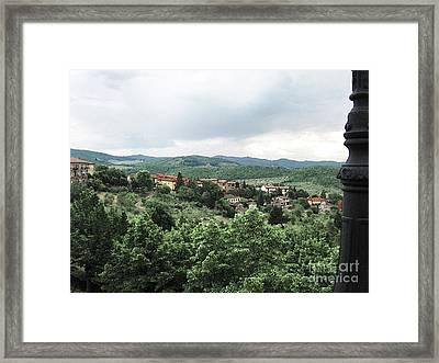 Radda Landscape From Balcony Framed Print by Linda Ryan