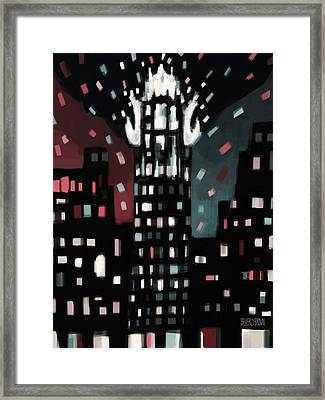Radiator Building Night Framed Print by Beverly Brown Prints