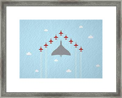 Raf Red Arrows In Formation With Vulcan Bomber Framed Print by Samuel Whitton