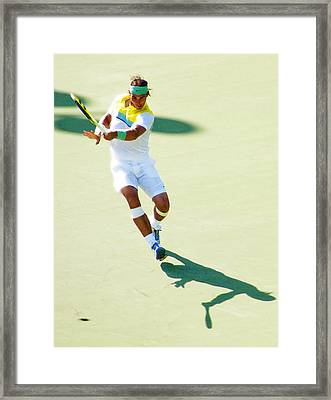 Rafael Nadal Shadow Play Framed Print by Steven Sparks