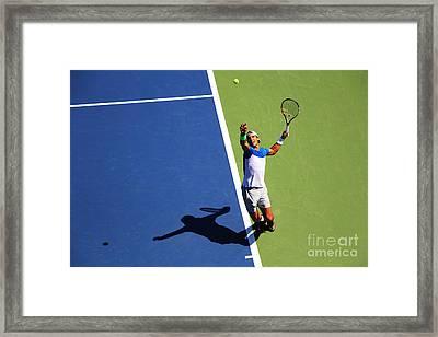 Rafeal Nadal Tennis Serve Framed Print by Nishanth Gopinathan