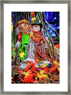 Raggedy Scarecrows Ann And Andy Framed Print by John Haldane