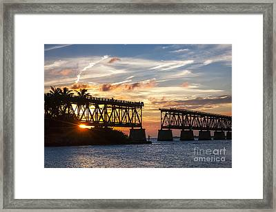 Rail Bridge At Florida Keys Framed Print by Elena Elisseeva