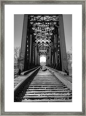 Railroad Bridge Black And White Framed Print by Sharon McConnell