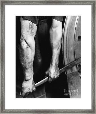 Railroad Worker Tightening Wheel Framed Print by LW Hine