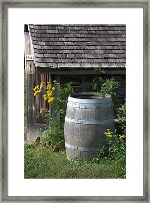 Rain Barrel Framed Print by Valerie Kirkwood