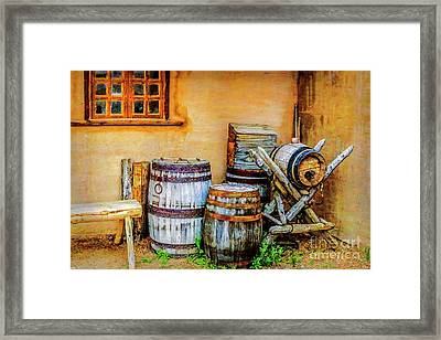 Rain Barrels Framed Print by Jon Burch Photography