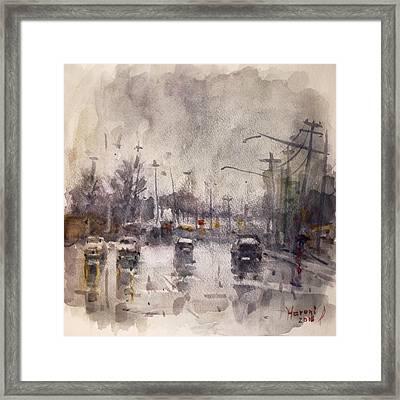Rain In Niagara Falls Blvd Framed Print by Ylli Haruni