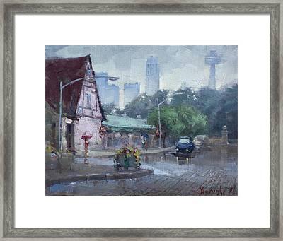 Rain In Old Falls Street Framed Print by Ylli Haruni