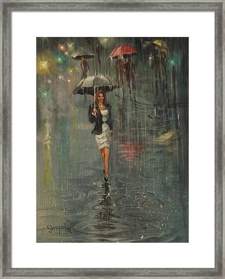 Rain In The City Framed Print by Tom Shropshire
