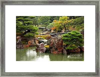 Rain On Kyoto Garden Framed Print by Carol Groenen