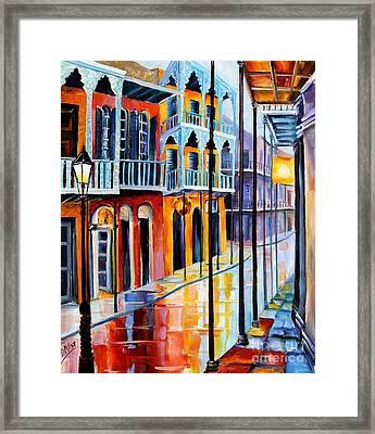Rain On Royal Street Framed Print by Diane Millsap