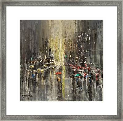 Rain On Wisconsin Avenue Framed Print by Tom Shropshire