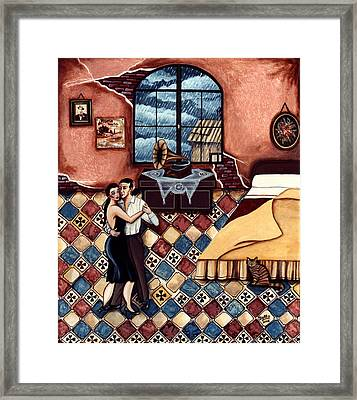 Rain, Romance And Tango Framed Print by Graciela Bello