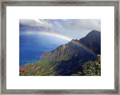 Rainbow Along The Na Pali Coast Kauai Hawaii From The Kalalau Lookout Framed Print by Brendan Reals