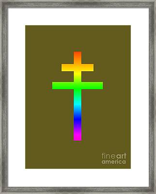 Rainbow Archbishop's Cross Framed Print by Frederick Holiday