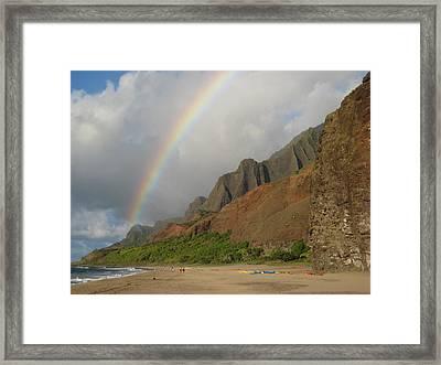 Rainbow At Kalalau  Framed Print by Ileana Carreno