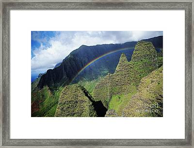 Rainbow At Na Pali Coast Framed Print by Bob Abraham - Printscapes