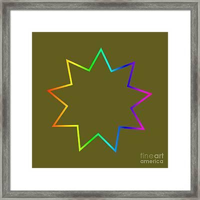 Rainbow Bahai Symbol Framed Print by Frederick Holiday