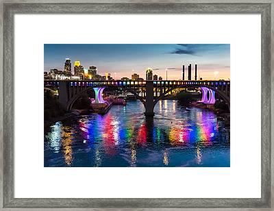 Rainbow Bridge In Minneapolis Framed Print by Jim Hughes