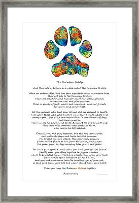Rainbow Bridge Poem With Colorful Paw Print By Sharon Cummings Framed Print by Sharon Cummings