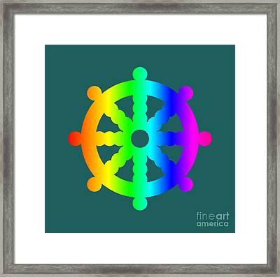 Rainbow Buddhism Symbol Framed Print by Frederick Holiday