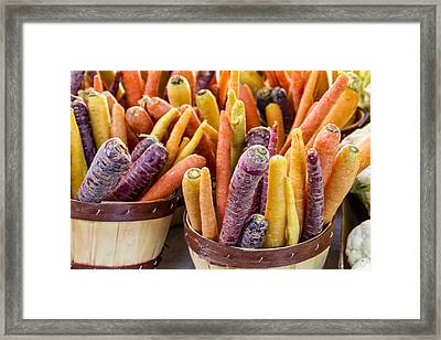 Rainbow Carrots At The Market Framed Print by Teri Virbickis