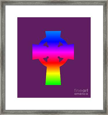Rainbow Celtic Cross Framed Print by Frederick Holiday