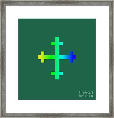 Rainbow Flory Heraldry Cross Framed Print by Frederick Holiday