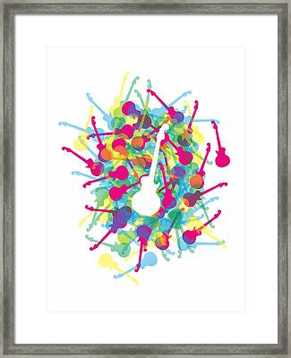 Rainbow Guitars Framed Print by Julia Jasiczak