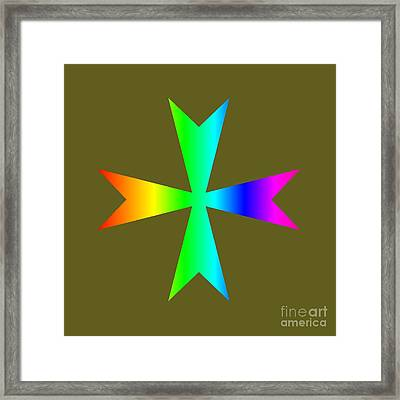 Rainbow Maltese Cross Variant Framed Print by Frederick Holiday