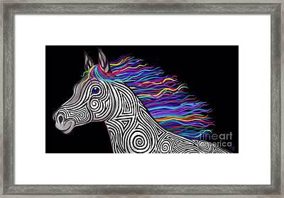 Rainbow Mane Mustang Framed Print by Nick Gustafson