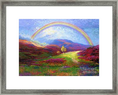Rainbow Meadows Framed Print by Jane Small