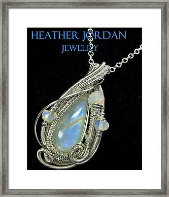 Rainbow Moonstone And Sterling Silver Wire-wrapped Pendant With Ethiopian Welo Opals Mnstpss7 Framed Print by Heather Jordan