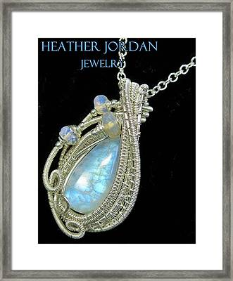 Rainbow Moonstone And Sterling Silver Wire-wrapped Pendant With Ethiopian Welo Opals Mnstpss8 Framed Print by Heather Jordan