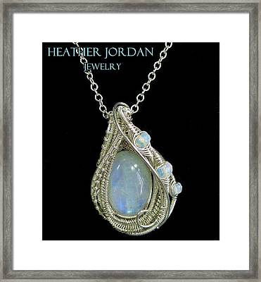 Rainbow Moonstone And Sterling Silver Wire-wrapped Pendant With Ethiopian Welo Opals Mnstpss9 Framed Print by Heather Jordan