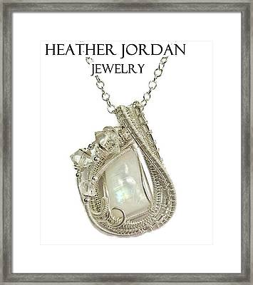 Rainbow Moonstone And Sterling Silver Wire-wrapped Pendant With Herkimer Diamonds Mnstpss10 Framed Print by Heather Jordan
