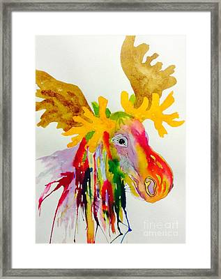 Rainbow Moose Head  - Abstract Framed Print by Ellen Levinson