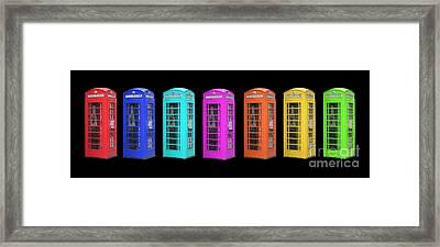 Rainbow Of London Phone Booths Tee Framed Print by Edward Fielding