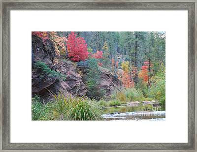 Rainbow Of The Season With River Framed Print by Heather Kirk