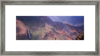 Rainbow Over A Canyon, Waimea Canyon Framed Print by Panoramic Images