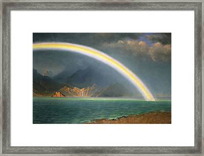 Rainbow Over Jenny Lake Wyoming Framed Print by Albert Bierstadt