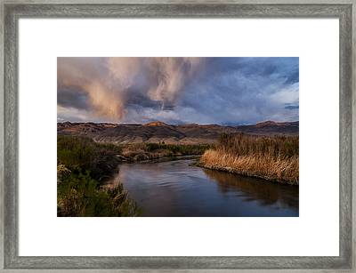 Rainbow Over Lower Owens River Framed Print by Cat Connor