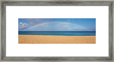 Rainbow Over The Pacific Panorama - Waimea Beach Oahu Hawaii Framed Print by Brian Harig