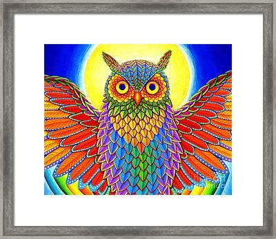 Rainbow Owl Framed Print by Rebecca Wang