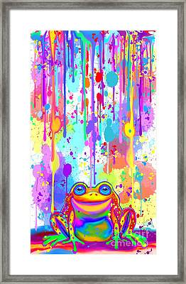 Rainbow Painted Frog  Framed Print by Nick Gustafson